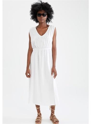 DeFacto V Yaka Yırtmaç Detaylı Midi Plaj Elbisesi Beyaz